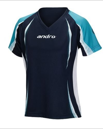 andro Shirt COSYO Women V-Neck navy/turquoise/white