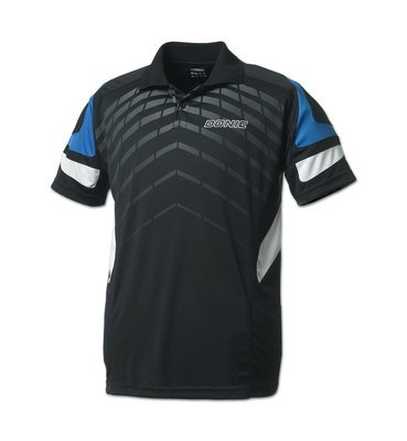 Donic Polo Shirt Force Blk /Cyan 100% Polyester Drilite