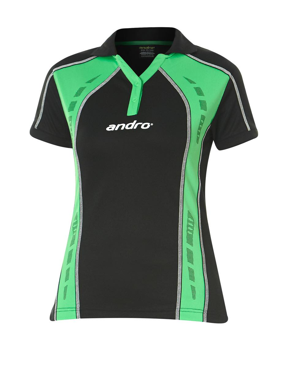 andro Polo Mago Women Blk/Green 100% Polyester IndoorDRY