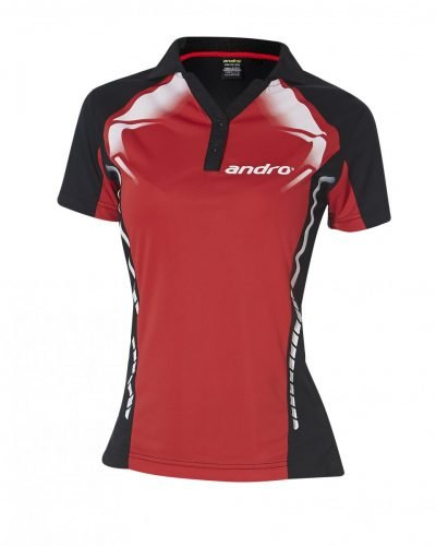 andro Polo Deimos Women Red/Blk 100% Polyester IndoorDRY