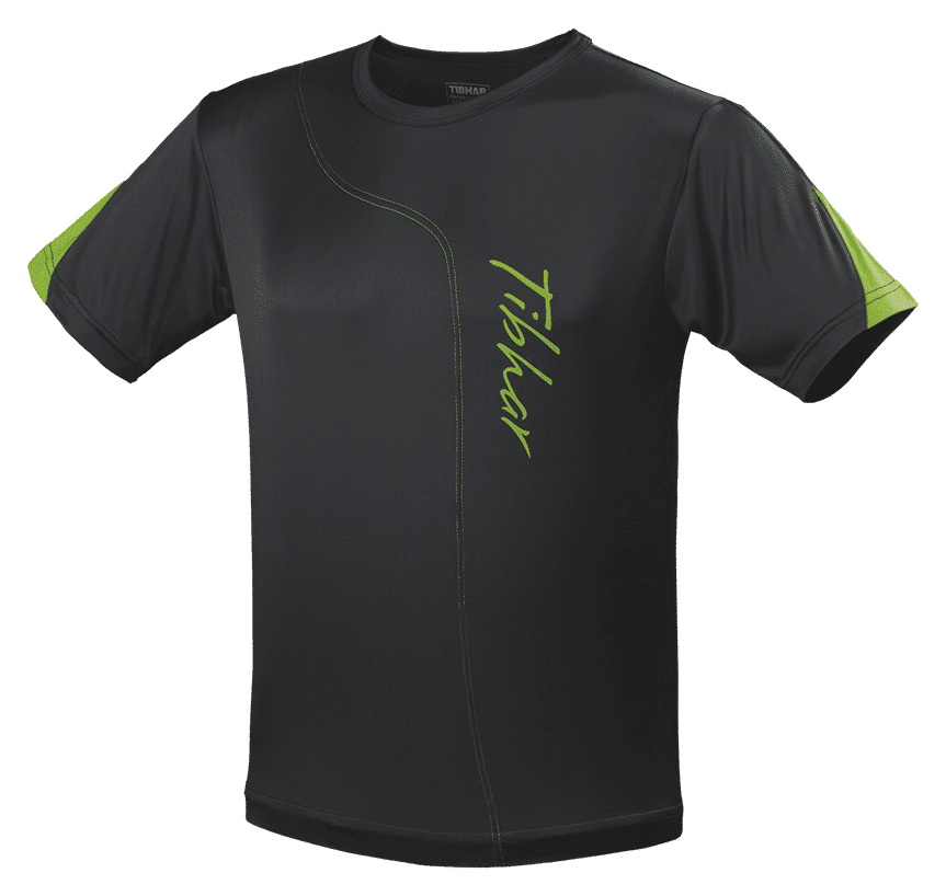 Tibhar T-Shirt SEAM Black/Green 100% Polyester""
