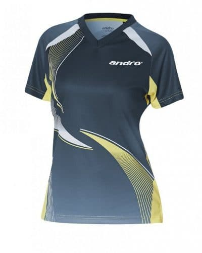 andro Womens Shirt Kaitos Grey/Yellow100% Polyester Indoor